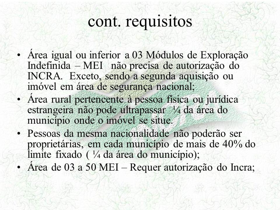 cont. requisitos Área igual ou inferior a 03 Módulos de Exploração Indefinida – MEI não precisa de autorização do INCRA. Exceto, sendo a segunda aquis