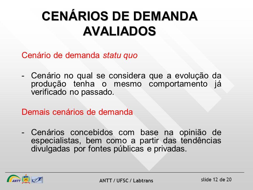 slide 12 de 20 ANTT / UFSC / Labtrans CENÁRIOS DE DEMANDA AVALIADOS Cenário de demanda statu quo -Cenário no qual se considera que a evolução da produção tenha o mesmo comportamento já verificado no passado.