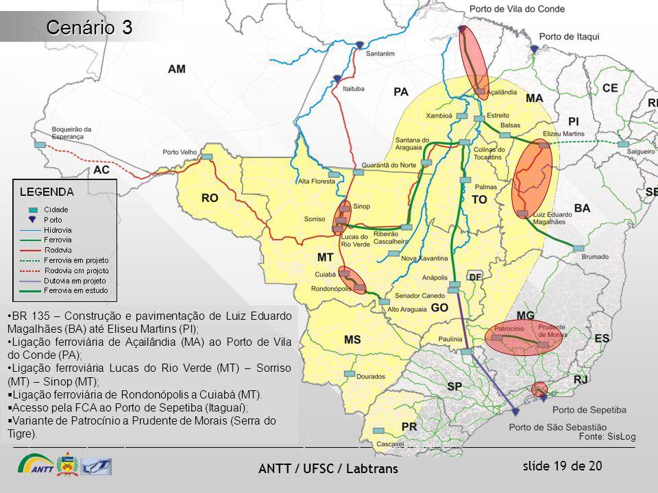 slide 19 de 20 ANTT / UFSC / Labtrans Cenário 3 BR 135 – Construção e pavimentação de Luiz Eduardo Magalhães (BA) até Eliseu Martins (PI); Ligação ferroviária de Açailândia (MA) ao Porto de Vila do Conde (PA); Ligação ferroviária Lucas do Rio Verde (MT) – Sorriso (MT) – Sinop (MT); Ligação ferroviária de Rondonópolis a Cuiabá (MT).