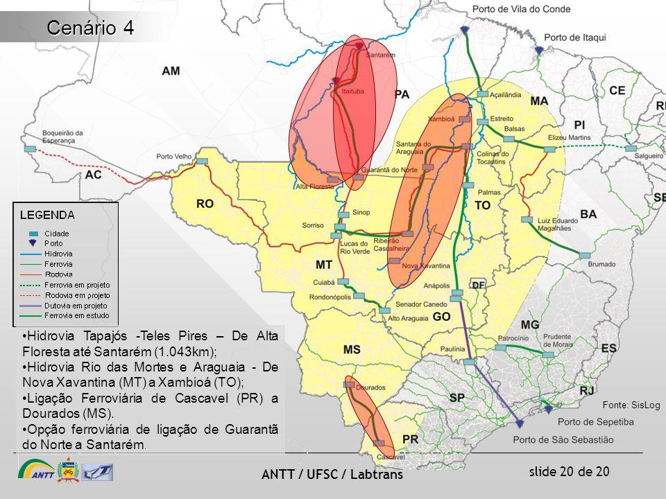 slide 20 de 20 ANTT / UFSC / Labtrans Cenário 4 Hidrovia Tapajós -Teles Pires – De Alta Floresta até Santarém (1.043km); Hidrovia Rio das Mortes e Araguaia - De Nova Xavantina (MT) a Xambioá (TO); Ligação Ferroviária de Cascavel (PR) a Dourados (MS).