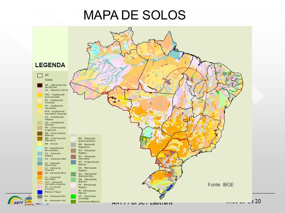 slide 25 de 20 ANTT / UFSC / Labtrans MAPA DE SOLOS Fonte: IBGE LEGENDA