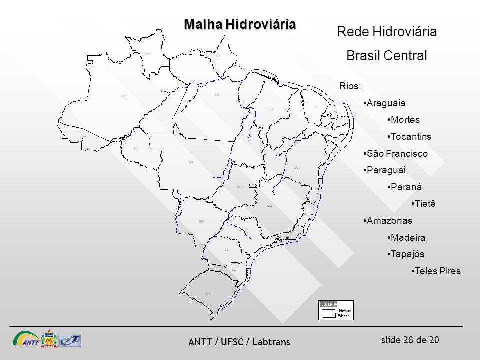 slide 28 de 20 ANTT / UFSC / Labtrans Malha Hidroviária Rede Hidroviária Brasil Central Rios: Araguaia Mortes Tocantins São Francisco Paraguai Paraná Tietê Amazonas Madeira Tapajós Teles Pires