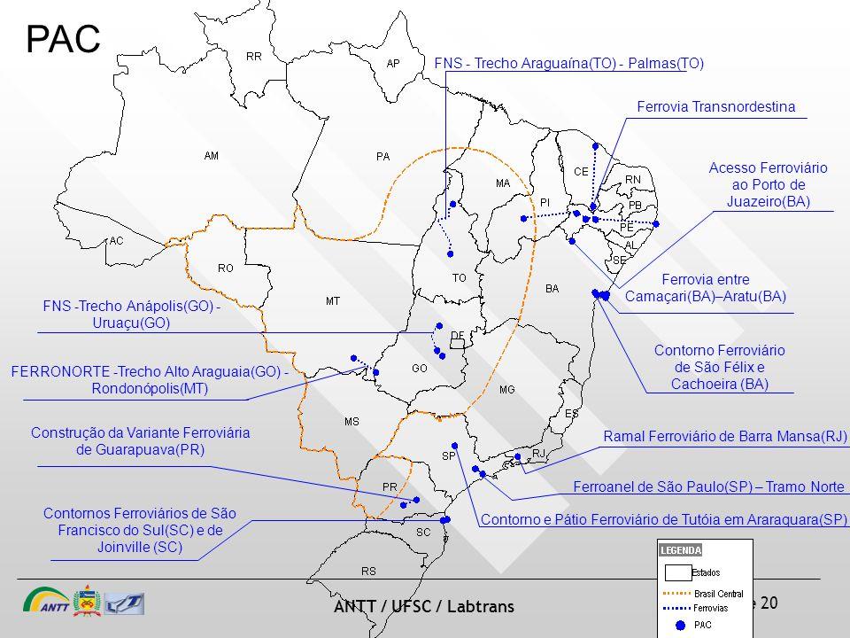 slide 30 de 20 ANTT / UFSC / Labtrans Construção da Variante Ferroviária de Guarapuava(PR) FNS -Trecho Anápolis(GO) - Uruaçu(GO) FERRONORTE -Trecho Al