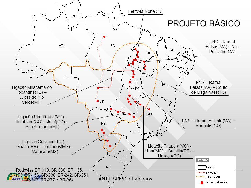 slide 31 de 20 ANTT / UFSC / Labtrans Ligação Cascavel(PR) – Guaíra(PR) – Dourados(MS) – Maracajú(MS) Ligação Uberlândia(MG) – Itumbiara(GO) – Jataí(GO) – Alto Araguaia(MT) Ligação Miracema do Tocantins(TO) – Lucas do Rio Verde(MT) Ligação Pirapora(MG) - Unaí(MG) – Brasília(DF) – Uruaçu(GO) Ferrovia Norte Sul FNS – Ramal Balsas(MA) – Alto Parnaíba(MA) FNS – Ramal Balsas(MA) – Couto de Magalhães(TO) FNS – Ramal Estreito(MA) – Anápolis(GO) Rodovias BR-010, BR-080, BR-135, BR153, BR-163, BR-230, BR-242, BR-251, BR-267, BR-277 e BR-364.