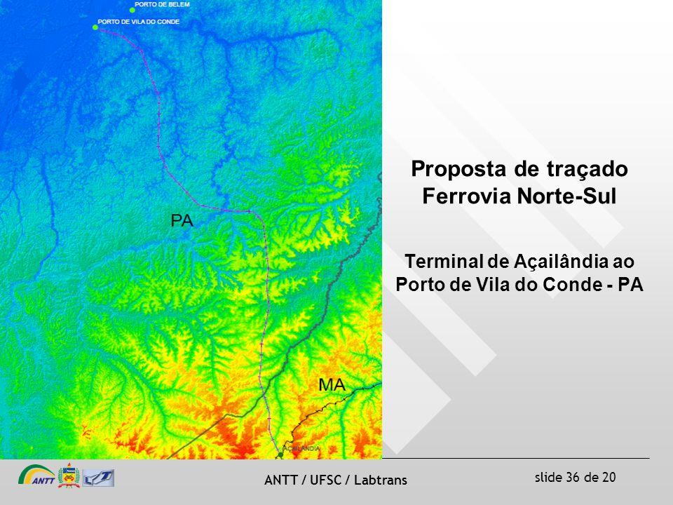 slide 36 de 20 ANTT / UFSC / Labtrans Proposta de traçado Ferrovia Norte-Sul Terminal de Açailândia ao Porto de Vila do Conde - PA