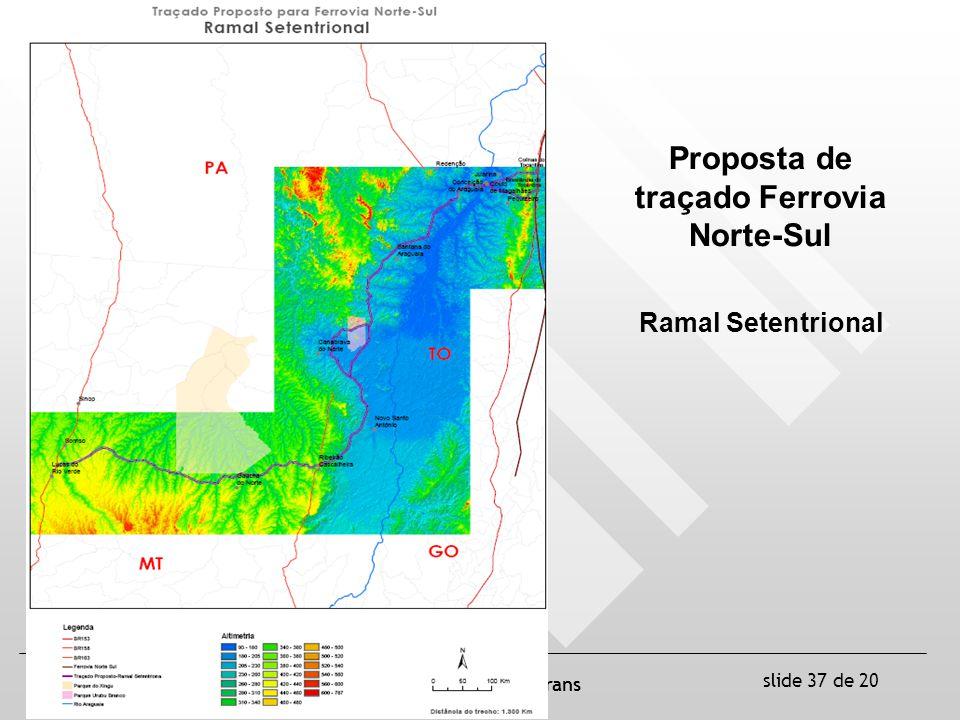 slide 37 de 20 ANTT / UFSC / Labtrans Proposta de traçado Ferrovia Norte-Sul Ramal Setentrional
