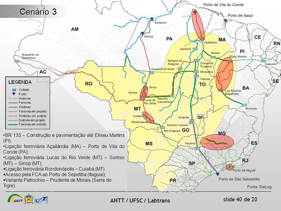 slide 40 de 20 ANTT / UFSC / Labtrans Cenário 3 BR 135 – Construção e pavimentação até Eliseu Martins (PI); Ligação ferroviária Açailândia (MA) – Porto de Vila do Conde (PA); Ligação ferroviária Lucas do Rio Verde (MT) – Sorriso (MT) – Sinop (MT); Ligação ferroviária Rondonópolis – Cuiabá (MT).