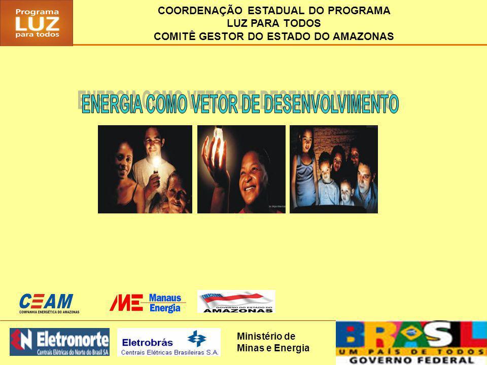 COORDENAÇÃO ESTADUAL/CGE - AM COMITÊ GESTOR Nº REPRESENTANTESENTIDADE/INSTITUIÇÃO 1Robson de BastosCoordenador Estadual - MME 2Wenceslau AbtibolManaus Energia e CEAM 3Marcoaurélio de MendonçaSecretaria Estadual de Infra-Estrutura - SEINF 4João Ferdinando BarretoSecretaria Estadual da Produção - SEPROR 5Paulo Sérgio BenzecrySUFRAMA 6Rui Moura BananeiraAssociação Amazonense de Municípios 7Fernando Raimundo Moreira VasquesARSAM 8Rubem César Rodrigues SouzaUniversidade Federal do Amazonas - UFAM 9Carlos Jorge Ataíde de OliveiraINCRA