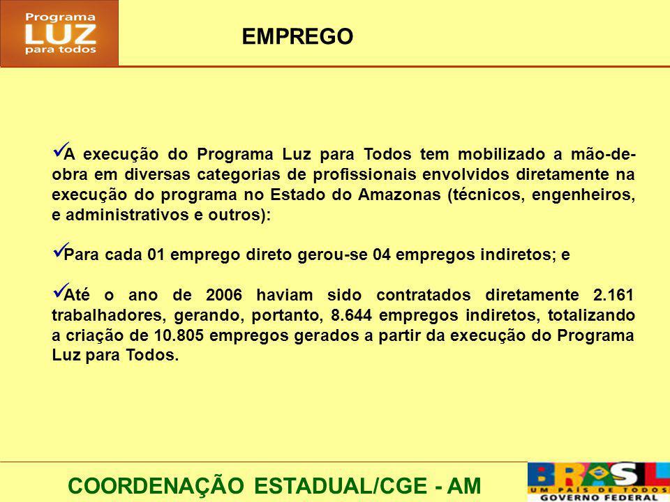 COORDENAÇÃO ESTADUAL/CGE - AM EMPREGO A execução do Programa Luz para Todos tem mobilizado a mão-de- obra em diversas categorias de profissionais envolvidos diretamente na execução do programa no Estado do Amazonas (técnicos, engenheiros, e administrativos e outros): Para cada 01 emprego direto gerou-se 04 empregos indiretos; e Até o ano de 2006 haviam sido contratados diretamente 2.161 trabalhadores, gerando, portanto, 8.644 empregos indiretos, totalizando a criação de 10.805 empregos gerados a partir da execução do Programa Luz para Todos.