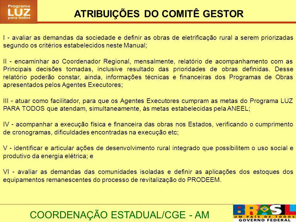 COORDENAÇÃO ESTADUAL/CGE - AM ATRIBUIÇÕES DO COMITÊ GESTOR I - avaliar as demandas da sociedade e definir as obras de eletrificação rural a serem prio
