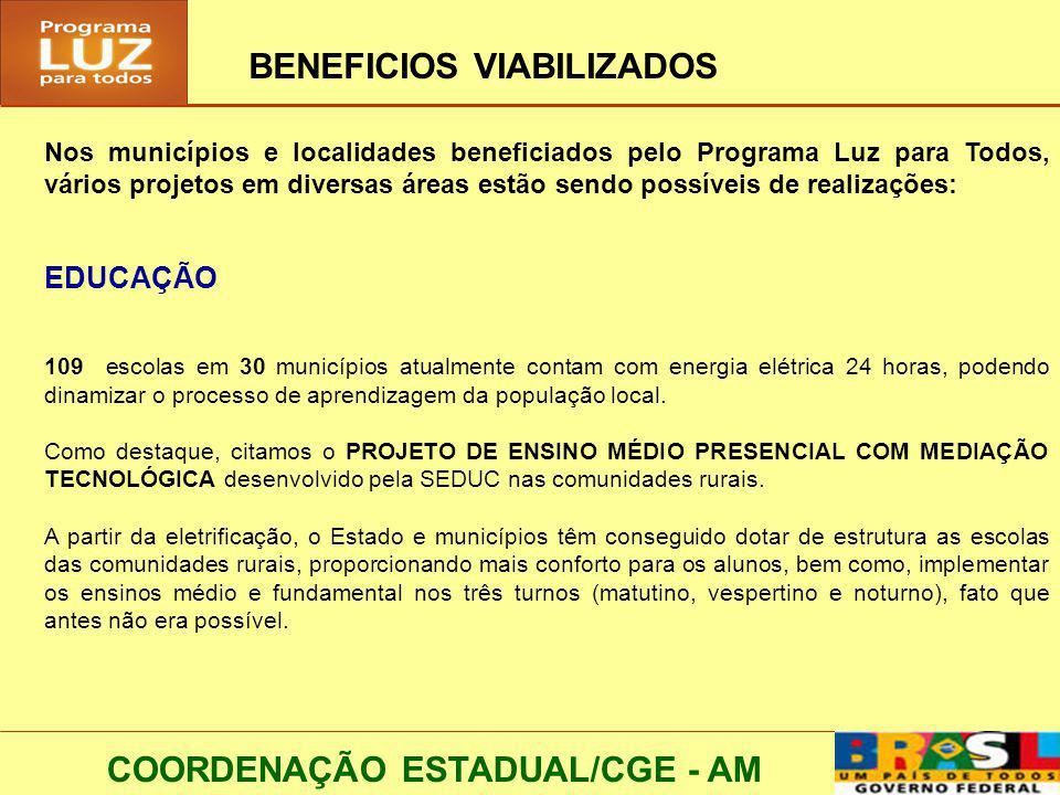 COORDENAÇÃO ESTADUAL/CGE - AM BENEFICIOS VIABILIZADOS Nos municípios e localidades beneficiados pelo Programa Luz para Todos, vários projetos em diver