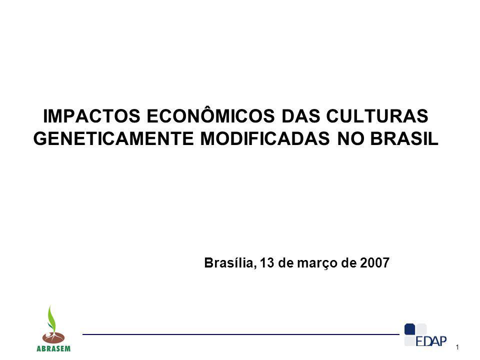 1 Brasília, 13 de março de 2007 IMPACTOS ECONÔMICOS DAS CULTURAS GENETICAMENTE MODIFICADAS NO BRASIL