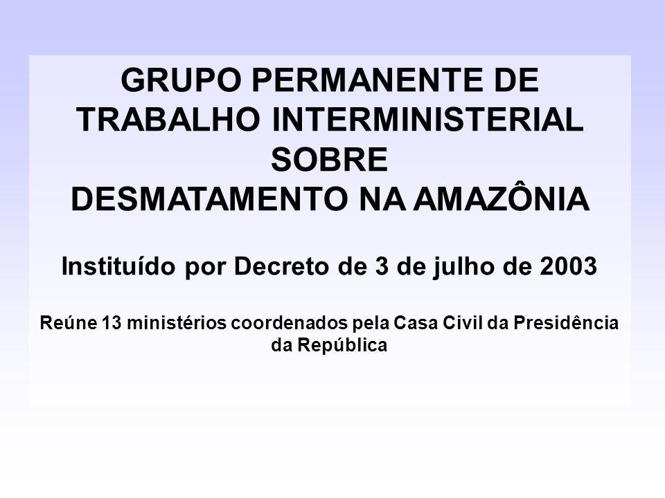 GRUPO PERMANENTE DE TRABALHO INTERMINISTERIAL SOBRE DESMATAMENTO NA AMAZÔNIA Instituído por Decreto de 3 de julho de 2003 Reúne 13 ministérios coorden