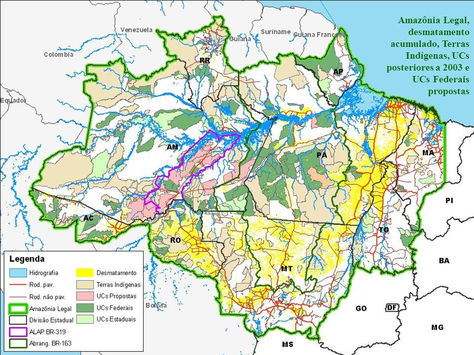 Amazônia Legal, desmatamento acumulado, Terras Indígenas, UCs posteriores a 2003 e UCs Federais propostas
