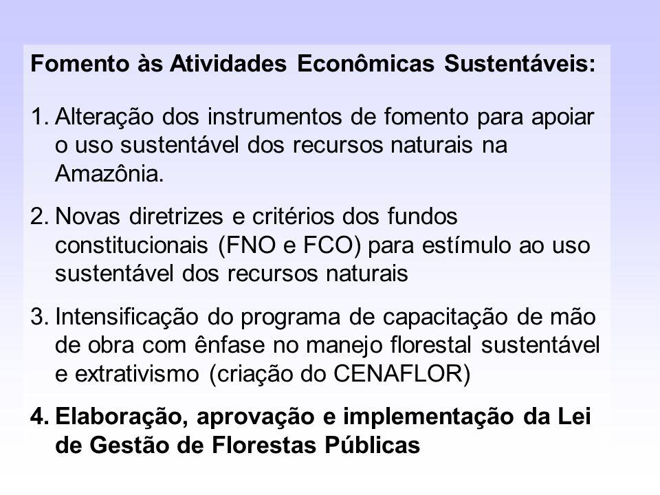Fomento às Atividades Econômicas Sustentáveis: 1.Alteração dos instrumentos de fomento para apoiar o uso sustentável dos recursos naturais na Amazônia
