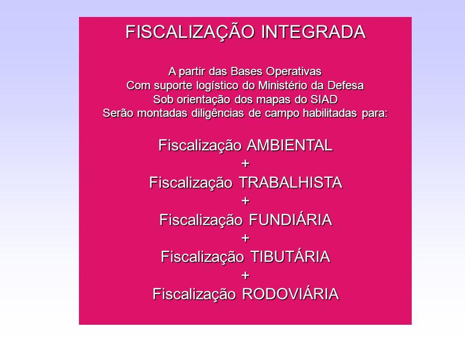 FISCALIZAÇÃO INTEGRADA A partir das Bases Operativas Com suporte logístico do Ministério da Defesa Sob orientação dos mapas do SIAD Serão montadas dil