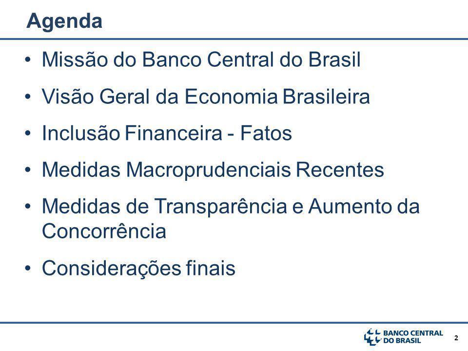 3 Missão do Banco Central do Brasil Visão Geral da Economia Brasileira Inclusão Financeira - Fatos Medidas Macroprudenciais Recentes Medidas de Transparência e Aumento da Concorrência Considerações finais Agenda