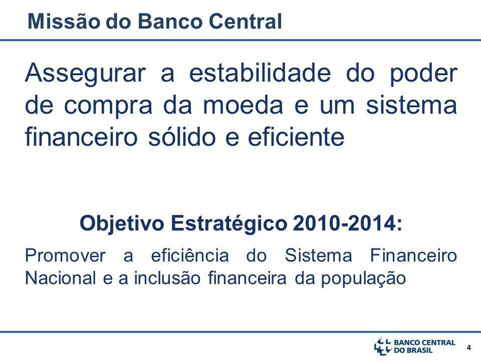 4 Assegurar a estabilidade do poder de compra da moeda e um sistema financeiro sólido e eficiente Objetivo Estratégico 2010-2014: Promover a eficiência do Sistema Financeiro Nacional e a inclusão financeira da população Missão do Banco Central