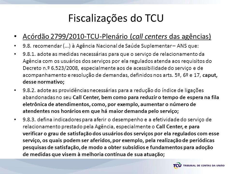 Fiscalizações do TCU Acórdão 2799/2010-TCU-Plenário (call centers das agências) 9.8. recomendar (...) à Agência Nacional de Saúde Suplementar – ANS qu