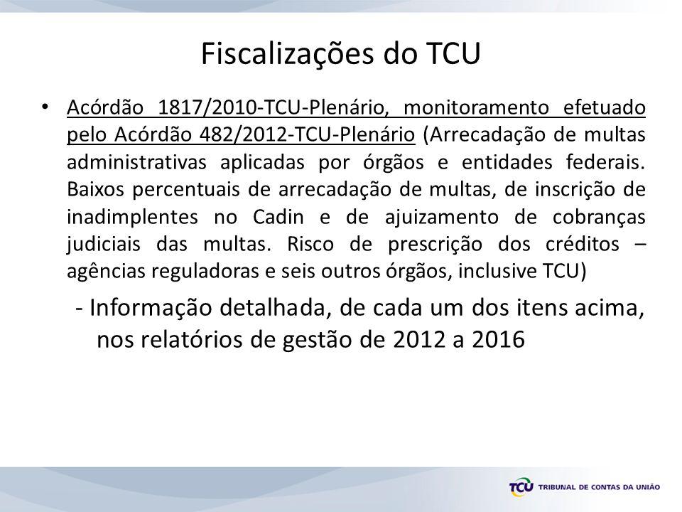 Fiscalizações do TCU Acórdão 1817/2010-TCU-Plenário, monitoramento efetuado pelo Acórdão 482/2012-TCU-Plenário (Arrecadação de multas administrativas aplicadas por órgãos e entidades federais.