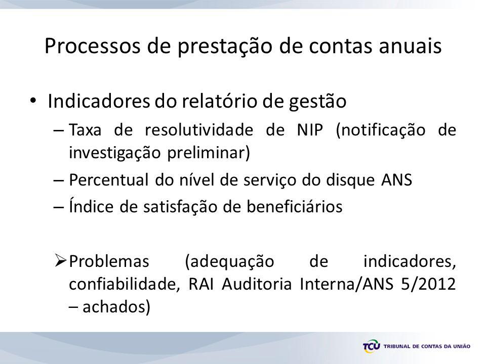 Processos de prestação de contas anuais Indicadores do relatório de gestão – Taxa de resolutividade de NIP (notificação de investigação preliminar) – Percentual do nível de serviço do disque ANS – Índice de satisfação de beneficiários Problemas (adequação de indicadores, confiabilidade, RAI Auditoria Interna/ANS 5/2012 – achados)