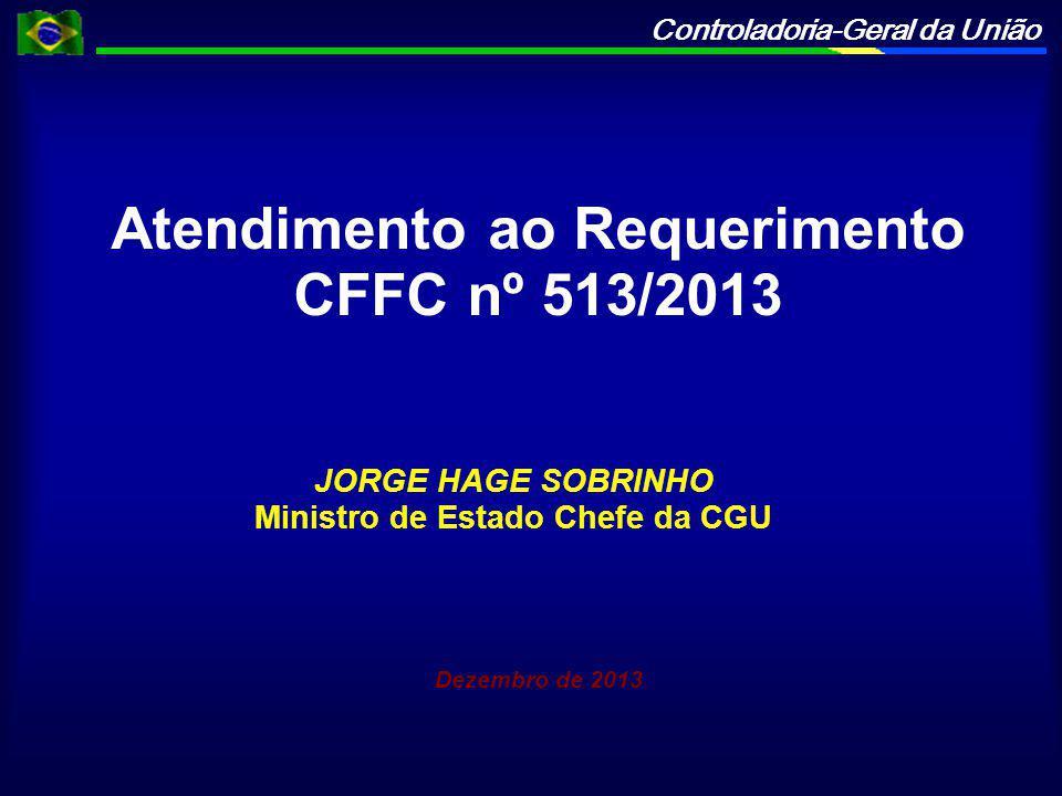 Controladoria-Geral da União Atendimento ao Requerimento CFFC nº 513/2013 JORGE HAGE SOBRINHO Ministro de Estado Chefe da CGU Dezembro de 2013