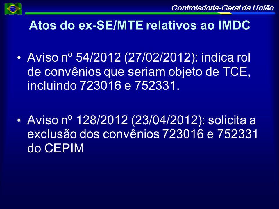 Controladoria-Geral da União Atos do ex-SE/MTE relativos ao IMDC Aviso nº 54/2012 (27/02/2012): indica rol de convênios que seriam objeto de TCE, incluindo 723016 e 752331.