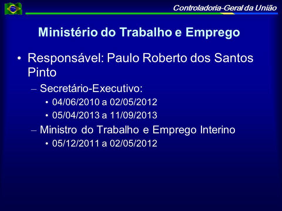 Controladoria-Geral da União Ministério do Trabalho e Emprego Responsável: Paulo Roberto dos Santos Pinto – Secretário-Executivo: 04/06/2010 a 02/05/2012 05/04/2013 a 11/09/2013 – Ministro do Trabalho e Emprego Interino 05/12/2011 a 02/05/2012