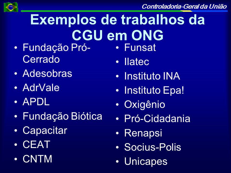 Controladoria-Geral da União Exemplos de trabalhos da CGU em ONG Fundação Pró- Cerrado Adesobras AdrVale APDL Fundação Biótica Capacitar CEAT CNTM Funsat Ilatec Instituto INA Instituto Epa.