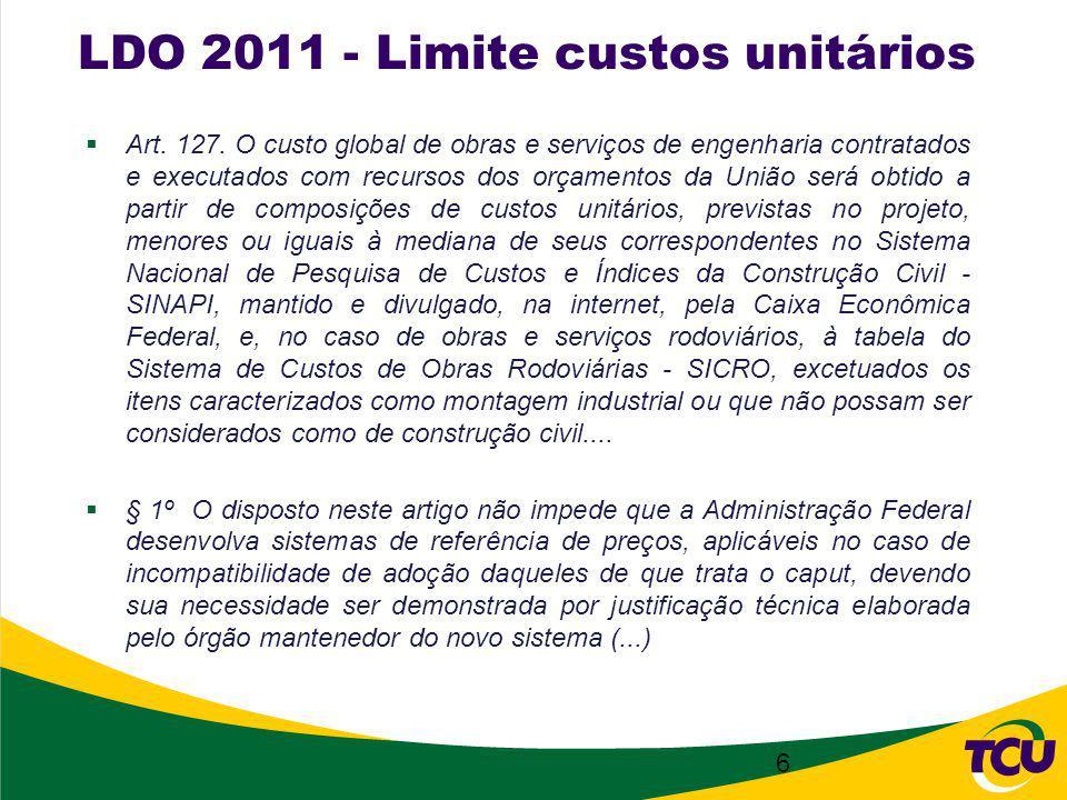 LDO 2011 - Limite custos unitários Art. 127.