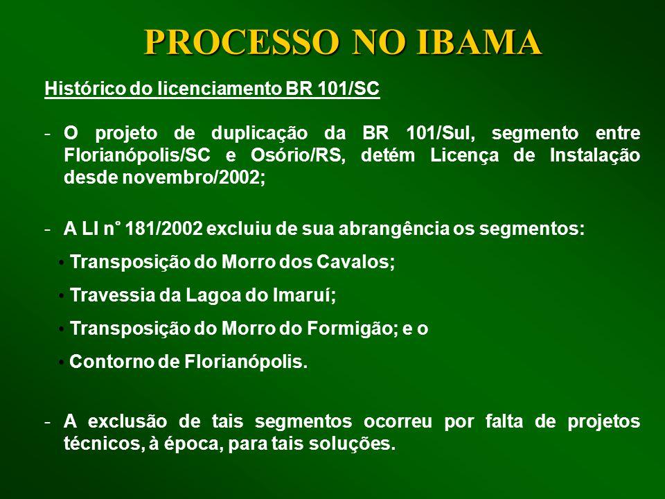PROCESSO NO IBAMA Histórico do licenciamento BR 101/SC -O projeto de duplicação da BR 101/Sul, segmento entre Florianópolis/SC e Osório/RS, detém Lice