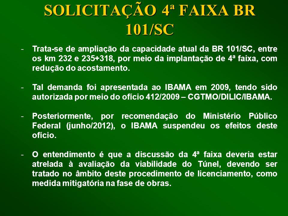SOLICITAÇÃO 4ª FAIXA BR 101/SC -Trata-se de ampliação da capacidade atual da BR 101/SC, entre os km 232 e 235+318, por meio da implantação de 4ª faixa