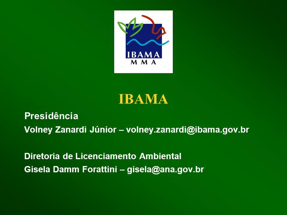 IBAMA Presidência Volney Zanardi Júnior – volney.zanardi@ibama.gov.br Diretoria de Licenciamento Ambiental Gisela Damm Forattini – gisela@ana.gov.br