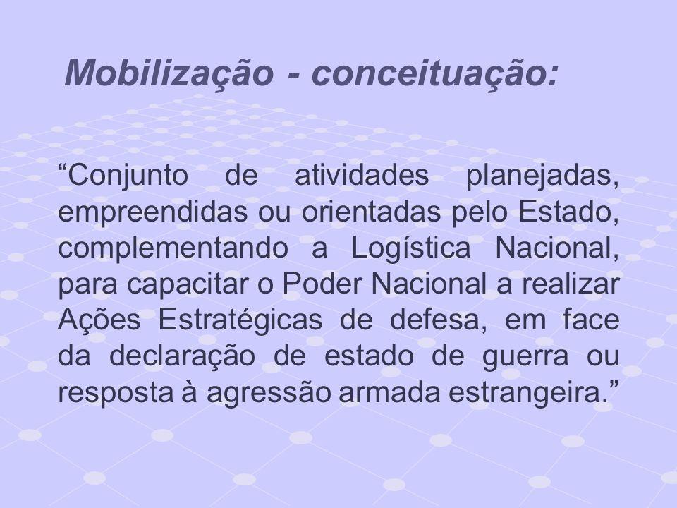 Mobilização - conceituação: Conjunto de atividades planejadas, empreendidas ou orientadas pelo Estado, complementando a Logística Nacional, para capac