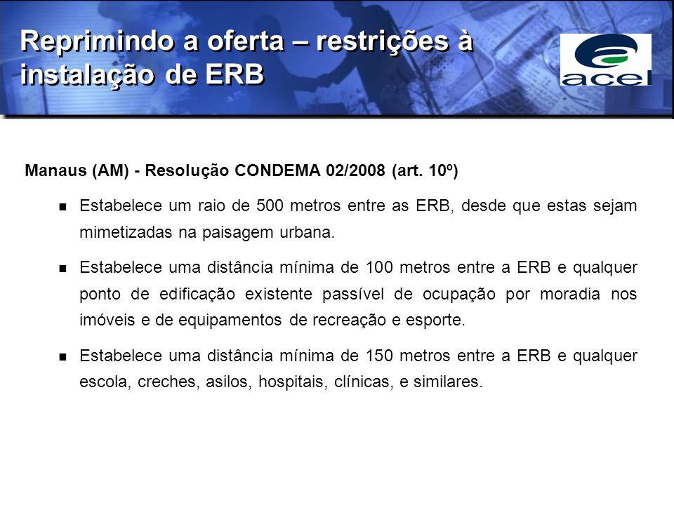 Manaus (AM) - Resolução CONDEMA 02/2008 (art. 10º) Estabelece um raio de 500 metros entre as ERB, desde que estas sejam mimetizadas na paisagem urbana