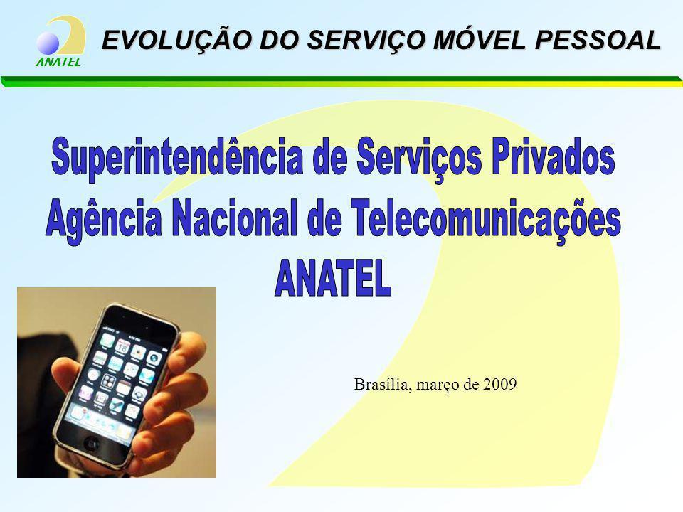 ANATEL EVOLUÇÃO DO SERVIÇO MÓVEL PESSOAL Brasília, março de 2009