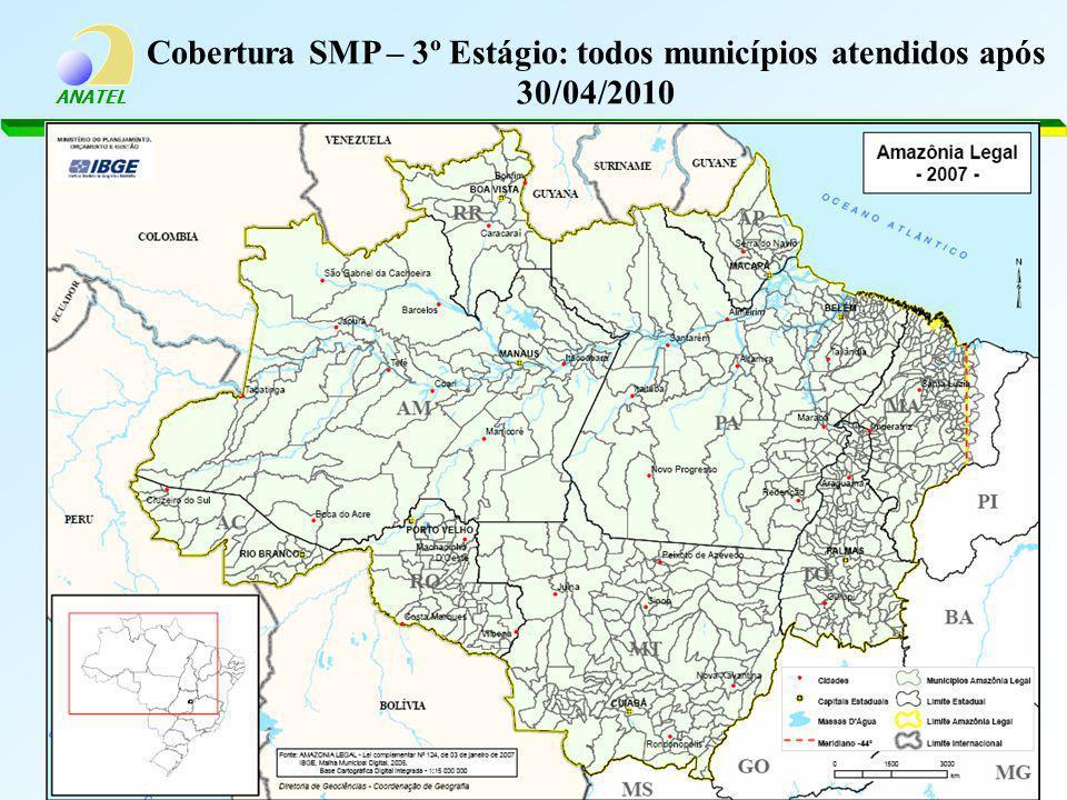 ANATEL Cobertura SMP – 3º Estágio: todos municípios atendidos após 30/04/2010