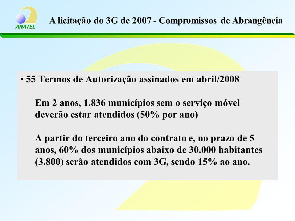 ANATEL 55 Termos de Autorização assinados em abril/2008 Em 2 anos, 1.836 municípios sem o serviço móvel deverão estar atendidos (50% por ano) A partir do terceiro ano do contrato e, no prazo de 5 anos, 60% dos municípios abaixo de 30.000 habitantes (3.800) serão atendidos com 3G, sendo 15% ao ano.