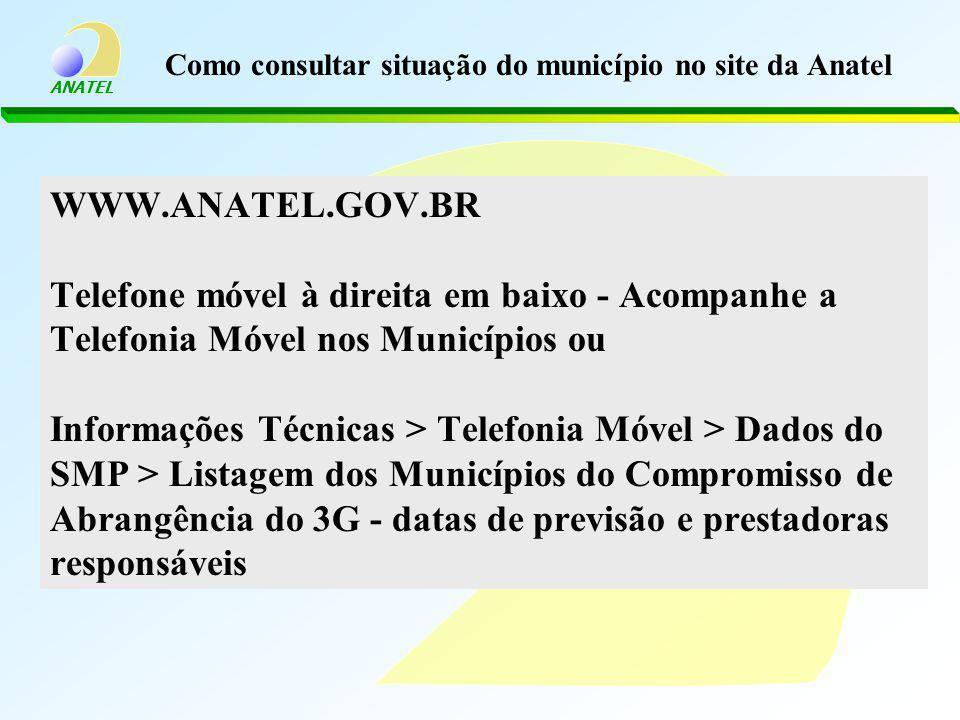 ANATEL Como consultar situação do município no site da Anatel WWW.ANATEL.GOV.BR Telefone móvel à direita em baixo - Acompanhe a Telefonia Móvel nos Mu