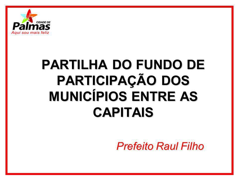 PARTILHA DO FUNDO DE PARTICIPAÇÃO DOS MUNICÍPIOS ENTRE AS CAPITAIS Prefeito Raul Filho