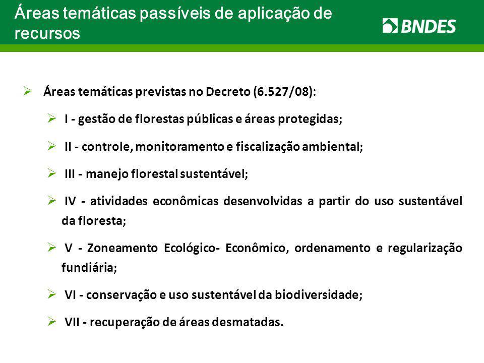 Áreas temáticas passíveis de aplicação de recursos Áreas temáticas previstas no Decreto (6.527/08): I - gestão de florestas públicas e áreas protegida