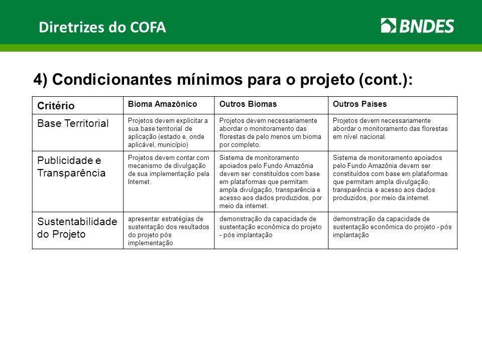 Diretrizes do COFA 4) Condicionantes mínimos para o projeto (cont.): Critério Bioma AmazônicoOutros BiomasOutros Países Base Territorial Projetos deve