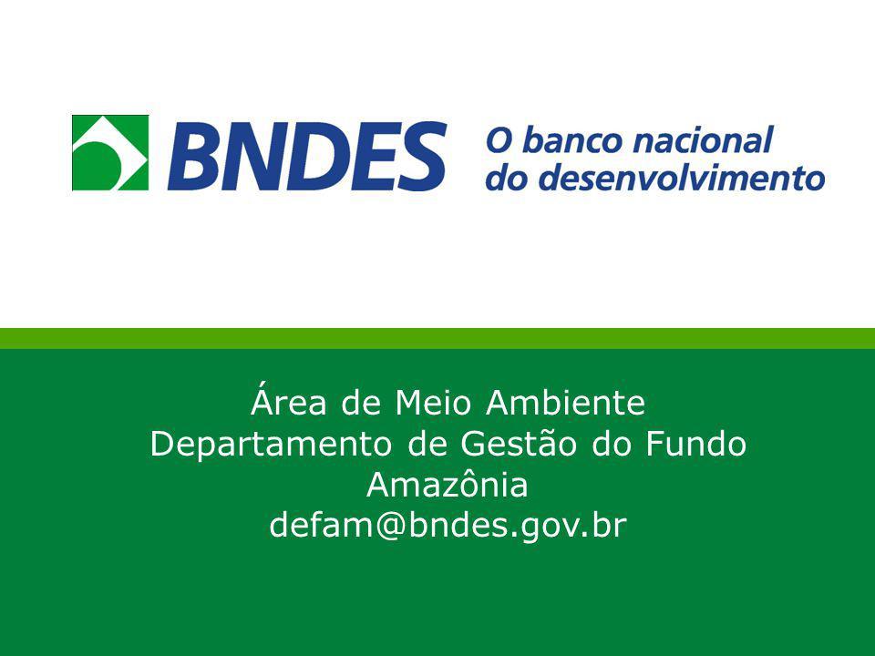 Área de Meio Ambiente Departamento de Gestão do Fundo Amazônia defam@bndes.gov.br