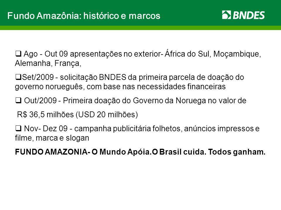 Fundo Amazônia- Histórico 2009 Nov /2009 – celebração de aditivos ao Contrato de Doação, prevendo até 750 milhões de coroas norueguesas para 2010 e 2011 Dez/ 2009 – BNDES aprova 5 primeiros projetos do Fundo, no valor total de R$ 70, 3 milhões.