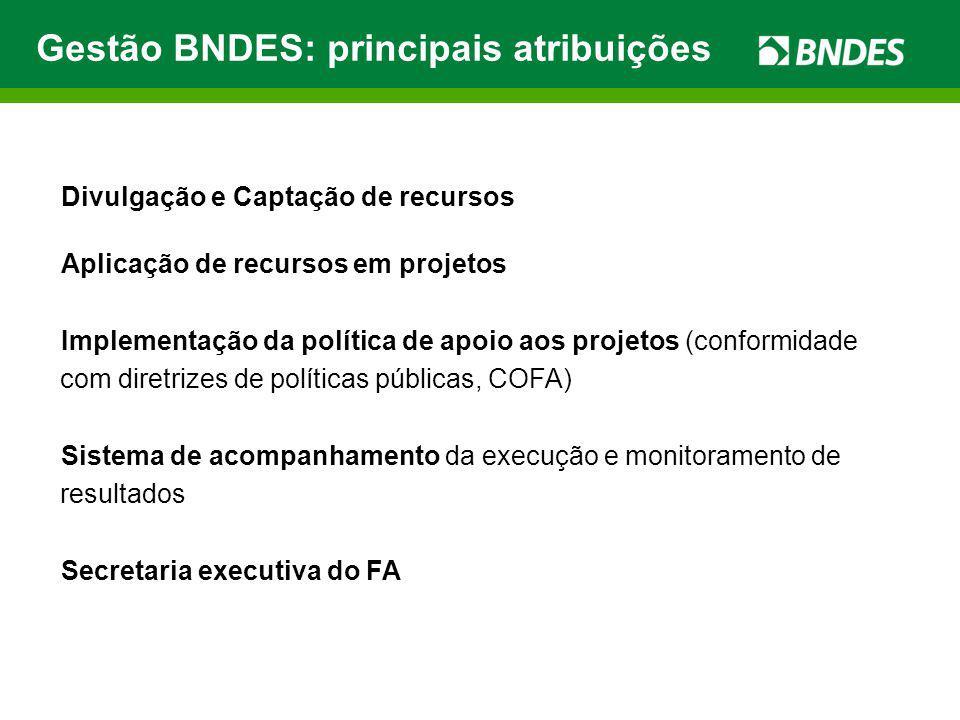 Gestão BNDES: principais atribuições Divulgação e Captação de recursos Aplicação de recursos em projetos Implementação da política de apoio aos projet