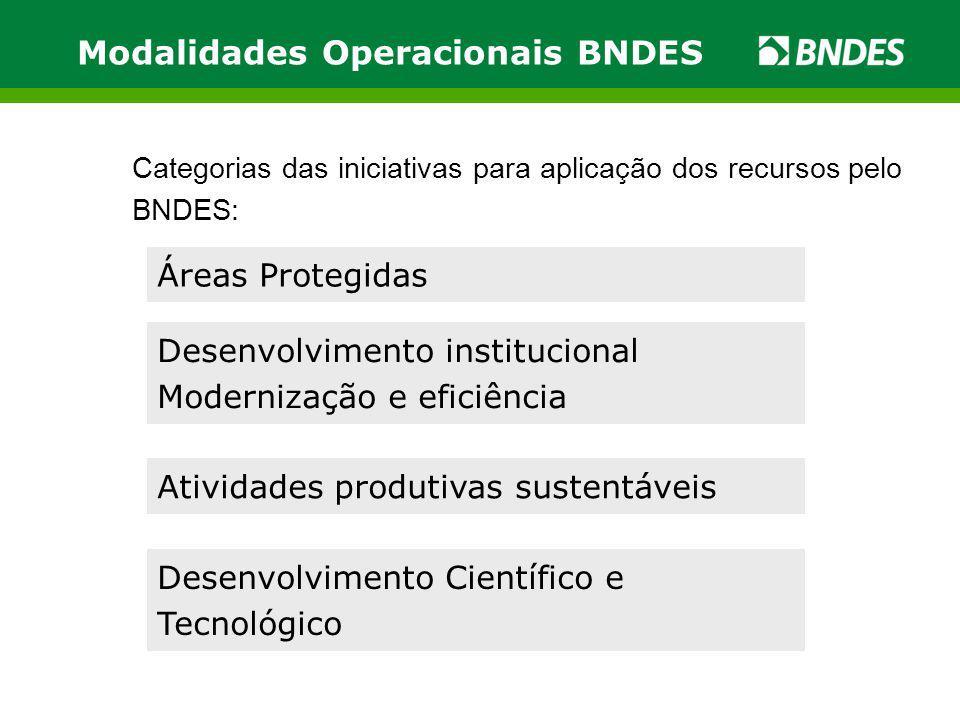 Modalidades Operacionais BNDES Categorias das iniciativas para aplicação dos recursos pelo BNDES: Áreas Protegidas Desenvolvimento institucional Moder