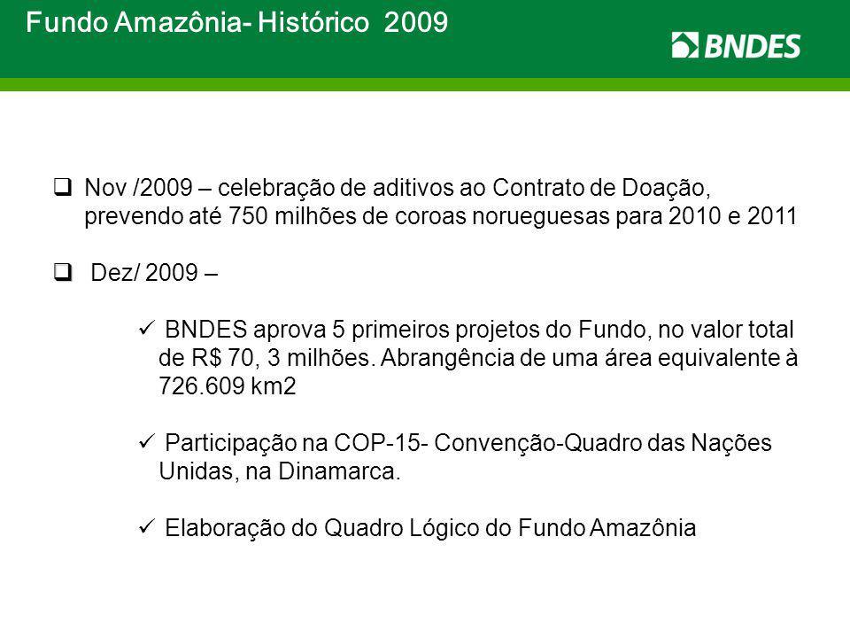 Fundo Amazônia- Histórico 2009 Nov /2009 – celebração de aditivos ao Contrato de Doação, prevendo até 750 milhões de coroas norueguesas para 2010 e 20