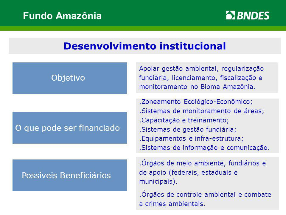 Desenvolvimento institucional O que pode ser financiado Possíveis Beneficiários Objetivo Apoiar gestão ambiental, regularização fundiária, licenciamen