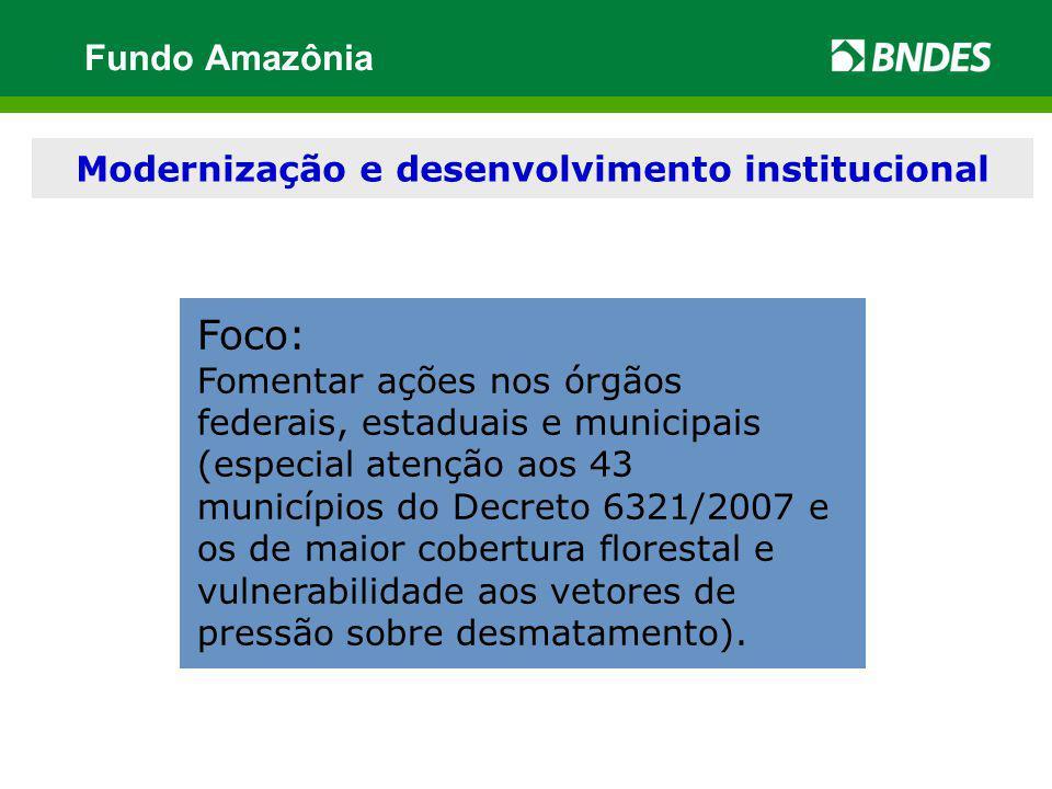Modernização e desenvolvimento institucional Foco: Fomentar ações nos órgãos federais, estaduais e municipais (especial atenção aos 43 municípios do D