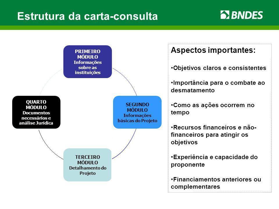 Estrutura da carta-consulta Aspectos importantes: Objetivos claros e consistentes Importância para o combate ao desmatamento Como as ações ocorrem no